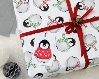 Baby Penguin Christmas Wrapping Paper Set - Penguin Wrapping Paper - Festive Wrap - Quirky Eco Friendly Paper - Children's Christmas Wrap