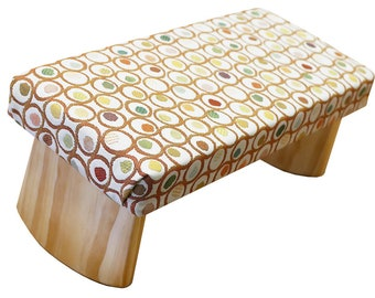 Folding Meditation Bench, two heights with cushion, portable. Circles