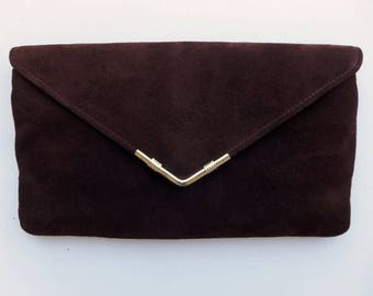 Vintage 70's Clutch Shoulder Bag Convertible Dark Brown Suede