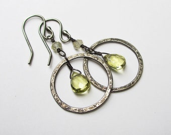 Lemon Quartz Earrings, Gemstone Dangle Hoop Earrings, Sterling Silver Hoops, Gemstone Jewelry, Halo Earrings, Yellow Stone Earrings Under 50