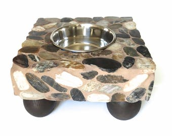 Medium Stone Dog Feeder, dog water station, raised dog bowl, elegant doggie diner, elevated dog bowl