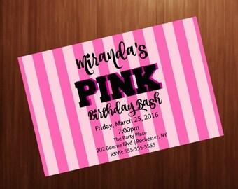Teen Birthday party  invitation, PINK, Secret, Pink stripes 4x6 printable invitation