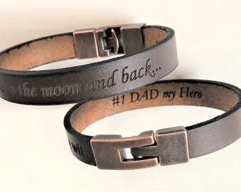 Dad's Hidden Message Bracelet,  Hidden Message Brown Leather Bracelet, Secret Message Mens Cuff, Personalized Bracelet, Custom Gift For Dad
