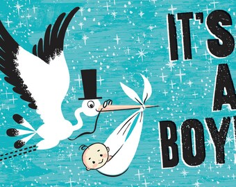 Custom  Birth Announcements - Retro Illustration - Stork Visit - Baby Boy Blue - 100 Baby Announcements