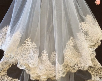 Two tier White Cathedral Drop Veil Lace veil Bridal veil Cathedral veil alencon lace veil