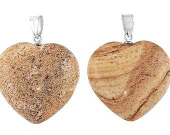 1 Pc 24x26 mm Picture Jasper Natural Heart Shaped Gemstone Pendant (GSP100273)