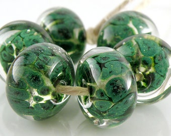Lime Aventurine Encased SRA Lampwork Handmade Artisan Glass Donut/Round Beads Made to Order Set of 6 10x15mm