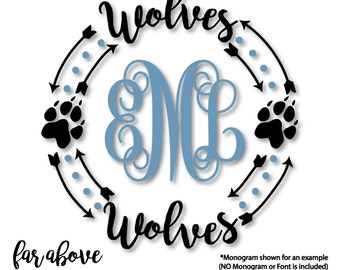 Wolves Paw Print Monogram Wreath Frame (monogram NOT included) - SVG, DXF, png, jpg digital cut file for Silhouette or Cricut