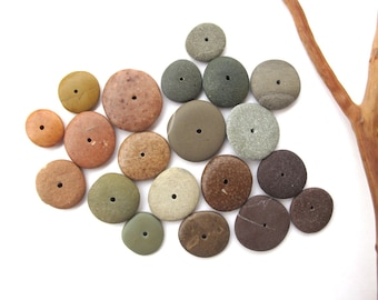 Rock Donut Beads Drilled Stone Spacers Beach Stone Beads Mediterranean Natural Stone Beads Diy Jewelry Pairs FAIRY WHEELS 13-21 mm