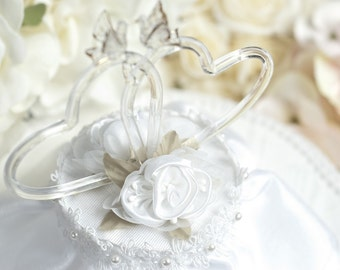 Satin Rose Hearts Wedding Cake Topper - 100500
