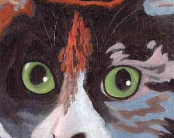 ORIGINAL Calico Cat Canvas Painting by KAZUMI 8x8 inches