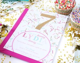 Girl Birthday invitation | Sprinkles party invite | Glitter invitation| Sprinkle confetti | Pink Mint Aqua Gold | Number invitation |Sparkle
