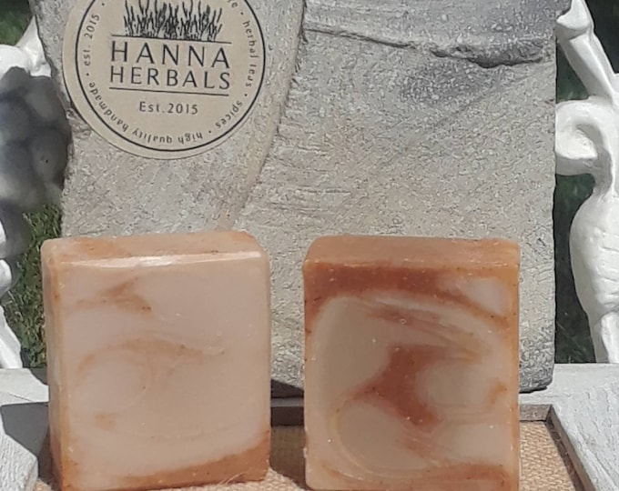 Featured listing image: Amber Sandalwood Cold Processed Soap - Olive Oil Soap = Coconut Oil Soap - Shea Butter Soap