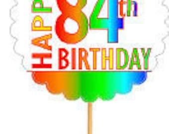 Happy 84th Birthday Rainbow Cupcake Decoration Topper Picks -12pk