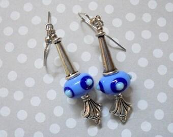 Spotted Blue Lampwork Earrings (2967)