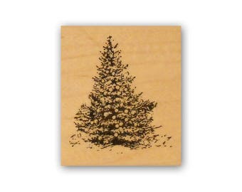 Christmas Tree mounted rubber stamp, pine tree, winter holiday, vintage style Crazy Mountain Stamps #7
