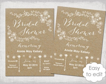 Bridal Shower invitation template Gold glitter