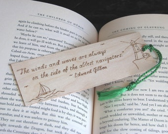 Sailing Bookmark - Wood Pyrography - Sailing Quote