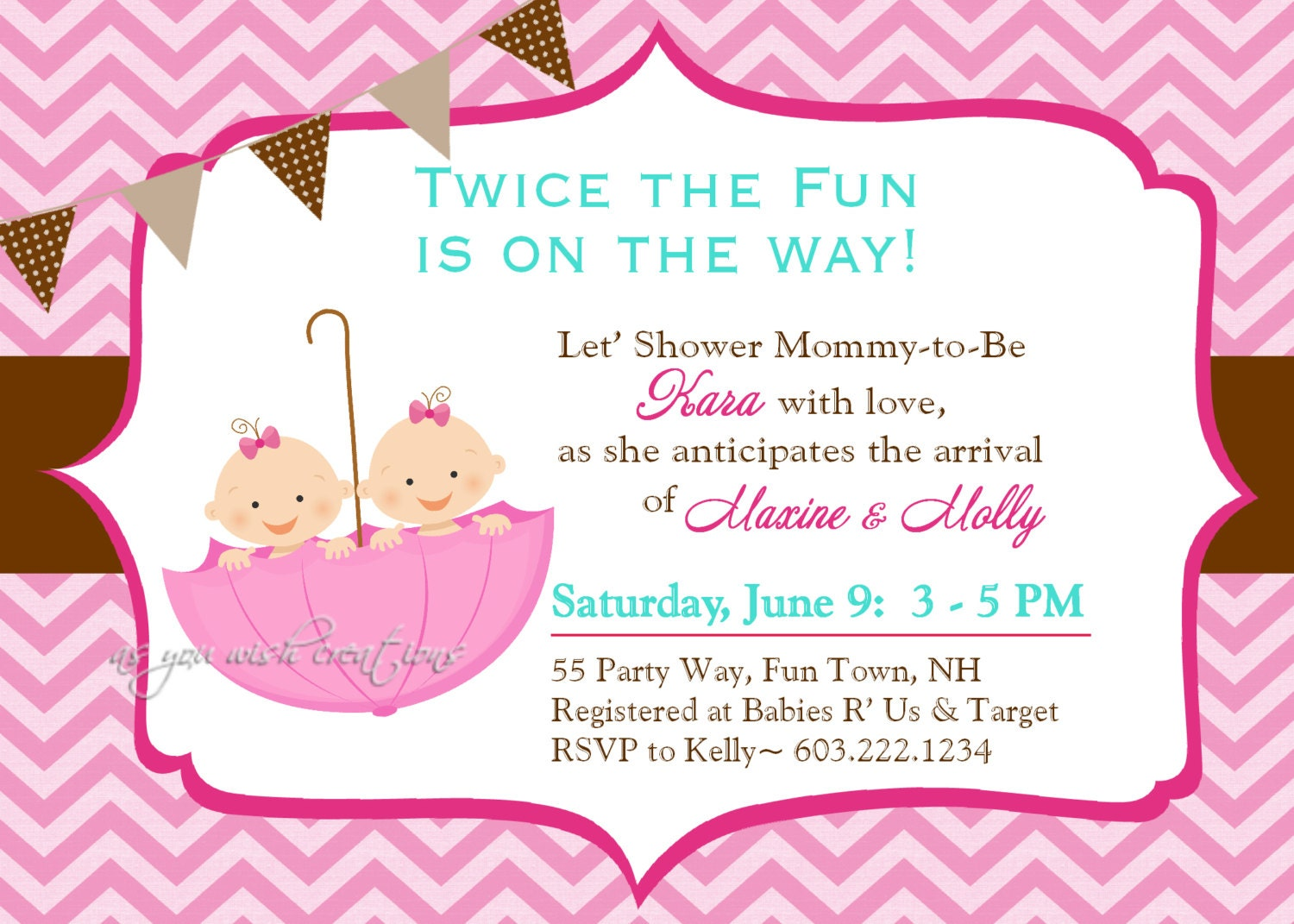 Umbrella Twins Baby Shower Invitation Chevron Twins Shower