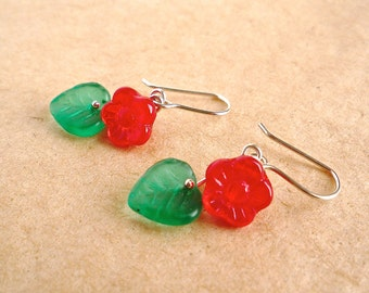 Red flower and leaf earrings, Small glass flower and leaf dangles, Sterling silver wire, Valentine's day flower earrings, Gift for her