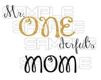 Mr. Onederful Mom Iron On Transfer, Mr Onederful Mom iron on, Mr. Onderful Mom Birthday Shirt, Mr Onederful shirt, 1st Birthday Shirt Boy
