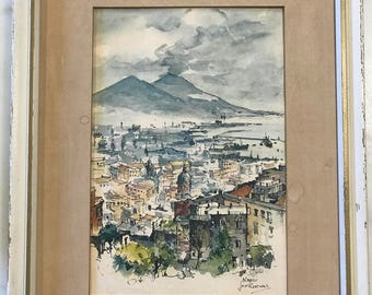 "Rare - Vintage Print - JAN KORTHALS (1916-1973) Watercolor on Board ""Napoli"" Italy"