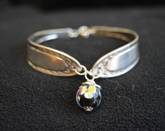 Silver spoon bangle bracelet with glass bead