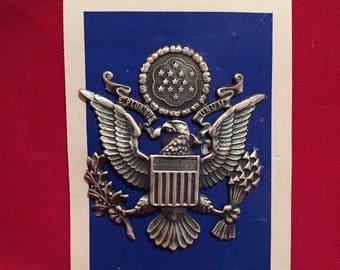 Vietnam War 1960's  U.S Air Force Officer Visor Insignia on Original Backing