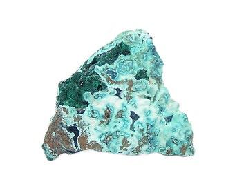 Dioptase Emerald Green Druzy Gemstone on Rare Blue Shattuckite and Chrysocolla rock matrix Mineral Specimen,  African Geo Gem