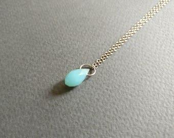 Mermaid tear. Dainty aquamarine necklace.