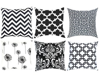 Black White Pillow Cover.Black Damask Pillow.Black White Cushion.Black Throw Pillow.Chevron Pillow.Greek Key Pillow.Euro Sham