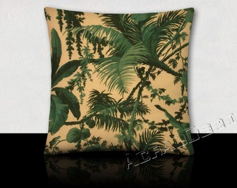 Cushion foliage leaves-tropical banana/fern/grass green tree/Turquoise on ivory background