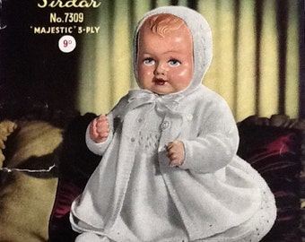 Original Vintage Sirdar Knitting Pattern for a Doll's Outfit