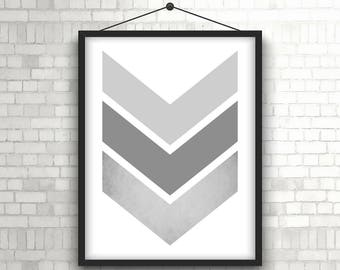 "Large Gray Blush Chevron Print, Gray Art Blush Print, Geometric Print, Pastel Art, Scandinavian Printable Art, Digital Download. ""14"""