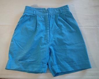 High waisted vintage blue shorts