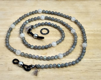 "EY1376 Spectacle Necklace/Lanyard, 27"", Labradorite, Moonstone, Lobster Clasps, Jeweled Eyeglass Holder Black Cord Ends"