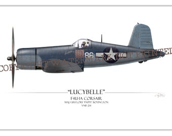 F4U Corsair - Pappy Boyington Black Sheep Squadron WW2 Aviation Warbird Art Print