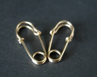 solid 18k gold mini SAFETY PIN earrings, punk jewelry, unisex earrings, simple everyday hoop earrings, cartilage earrings