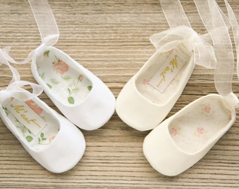 WHITE baby ballet shoes, IVORY baby ballerina shoes, ivory white baby christening shoes, baptism shoes, wedding baby outfit, baby slippers