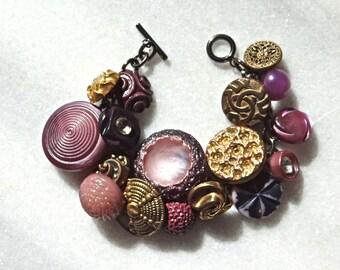 Marvelous Mauve and Gold Antique Button Charm Bracelet