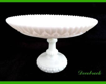 Ornate vintage France vintagefr cake stand white milkglass footed Bowl
