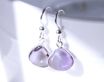 Angel Tear Dangle Earrings, Purple Gemstone Ametrine,  Sterling Silver, Handmade Jewelry, Casual Simple, Gift for Her, Christina Guenther