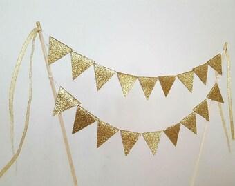 Gold glitter cake bunting banner topper, PERSONALIZED.  Birthday, baby shower, bridal shower, bachelorette.
