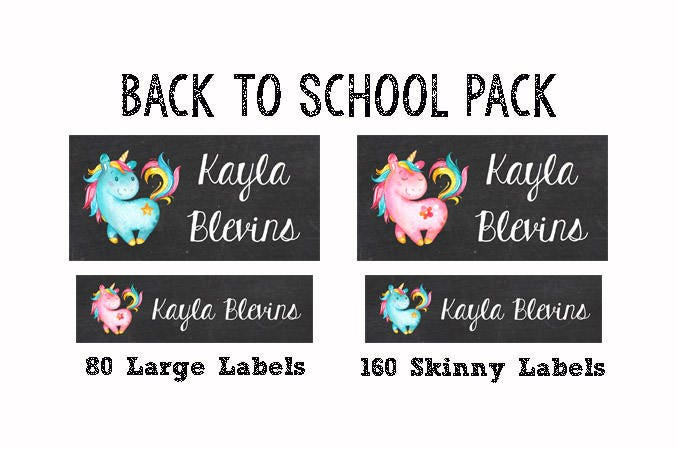 240 personalized waterproof dishwasher safe daycare pack school name labels sippy cup baby bottle custom name stickers unicorns 002