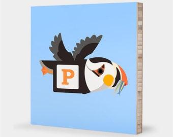 P is for Puffin : ABC Block Bamboo Wall Art Series // Alphabet Kids Wall Art Nursery Room Decor Bird Art