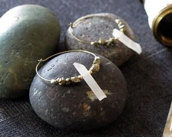 quartz and pyrite brass hoop earrings: fort knox earrings