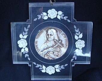 Vintage Lucite French ST SAINT THERESA Therese Teresia Plaque Wall Hanging Small France