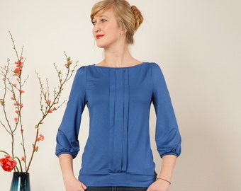 """Shirt """"Melody"""" with three decorative folds,  in jeans blue"""