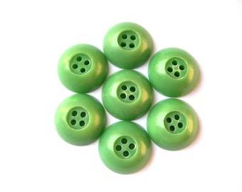 7 Antique vintage plastic buttons green 18mm, 6mm thick RARE
