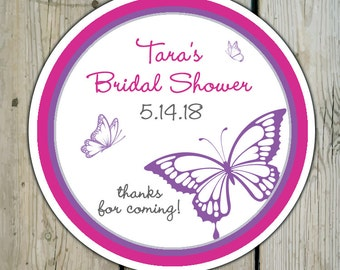Round Custom Butterfly Favor Labels / Stickers - Butterflies - Personalized Butterfly Wedding Favor Stickers / Shower Labels / Birthday